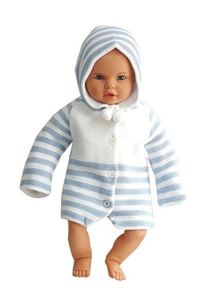bebegen Mavi Çizgili Triko Bebek Hırka