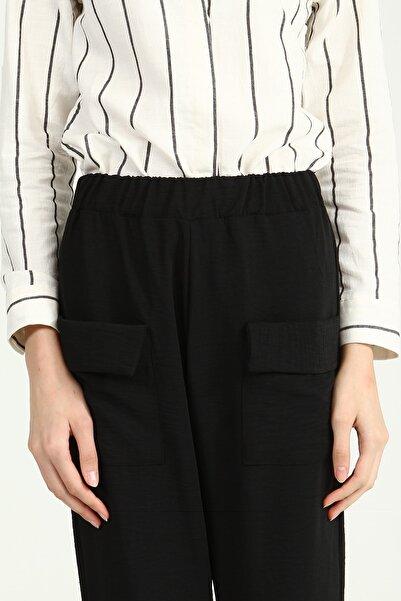 Collezione Sıyah Beli Lastikli Ön Kapaklı Cepli Paçası Lastikli Kadın Pantolon