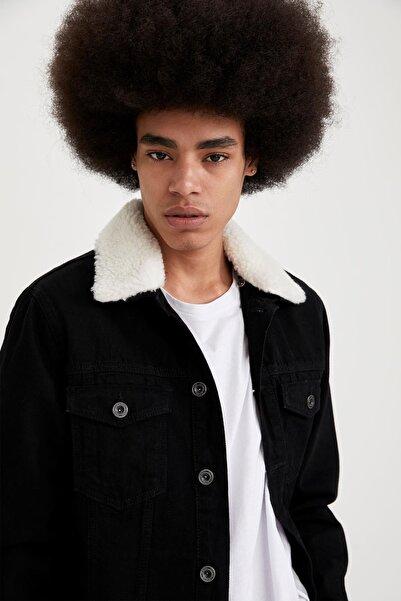 DeFacto Erkek Siyah Yakası Peluş Kürklü Slim Fit Jean Ceket S9909AZ21SPNM