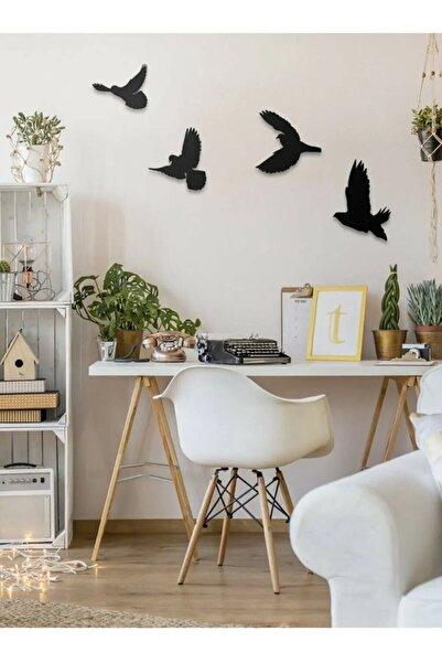 evdeucuz Dekoratif Modern Dörtlü Kuş Duvar Süsü