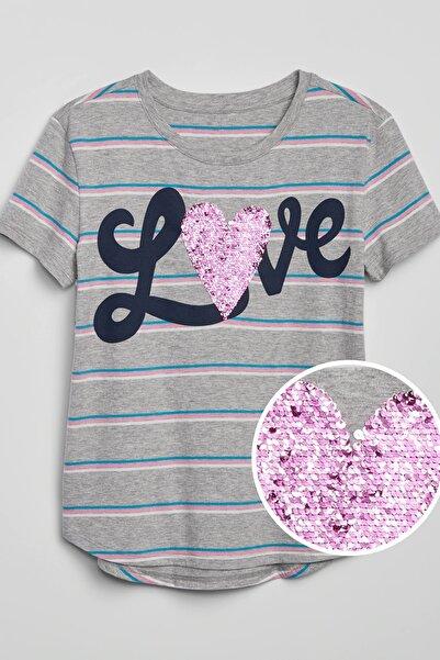 GAP Kids Kız Çocuk Pullu Kısa Kollu T-Shirt