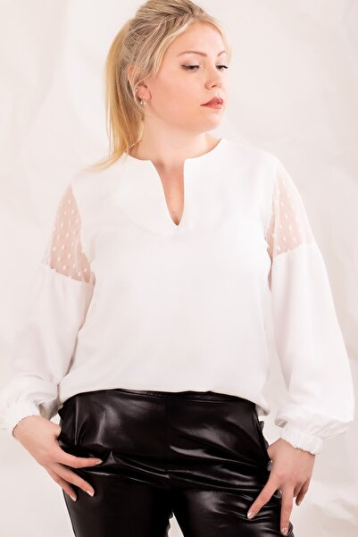 armonika Kadın Beyaz Büyük Beden V Yaka Kolu Tüllü Balonlu Bluz