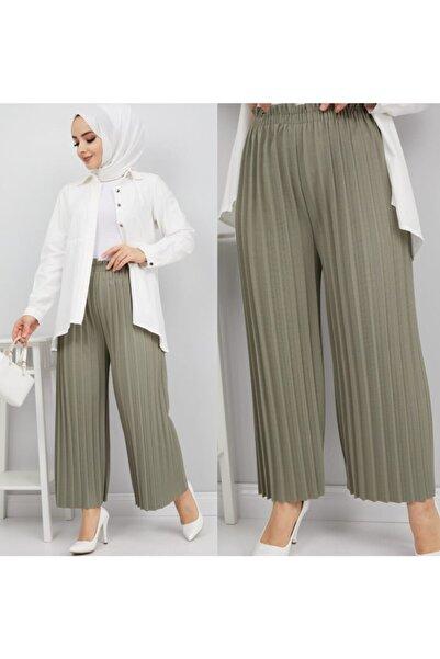 NACAR STORE Kadın Haki Piliseli Bel Lastikli Salaş Pantolon
