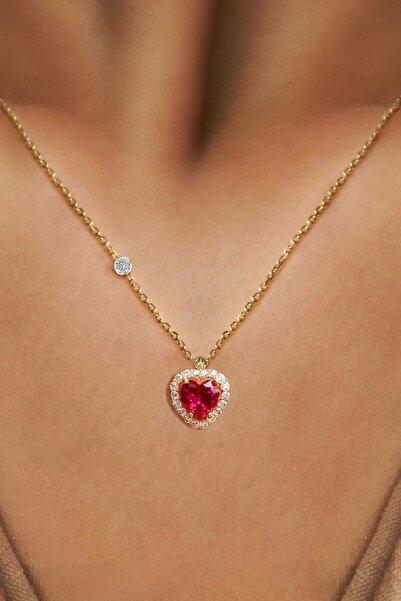 Demas Gold Kadın 14 Ayar Altın Pırlanta Tohumlu Cherry Topaz Rengi Kalp Kolye