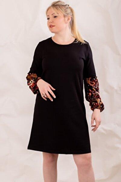Kadın Siyah Büyük Beden Kolu Renkli Balonlu Elbise