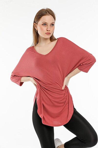 modavingo Kadın Gül Kurusu Salaş Kesim Basic Bluz