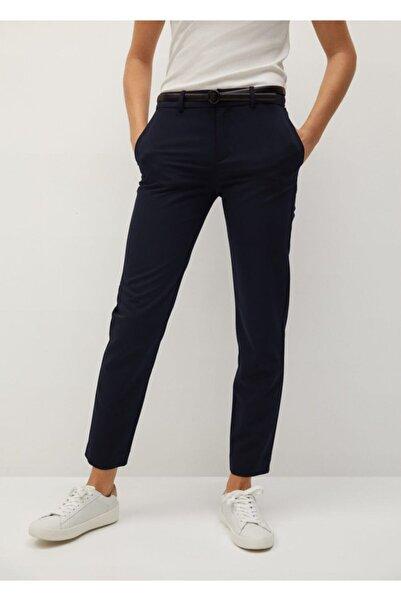 MANGO Woman Kadın Lacivert Kemerli Kumaş Pantolon