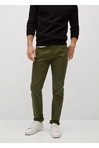 MANGO Man Erkek Haki Dar Kesim Denim Görünümlü Serj Pantolon