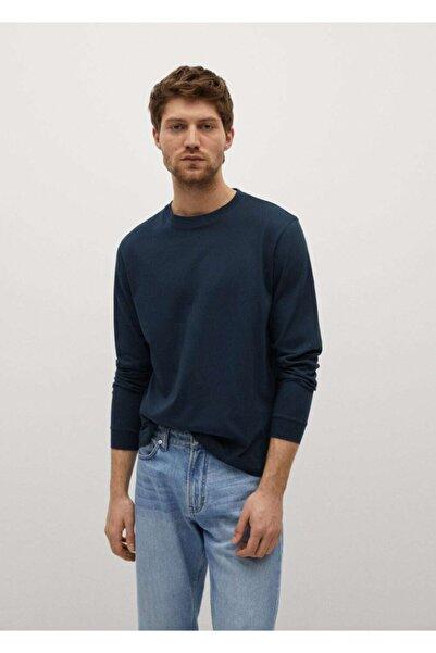 MANGO Man Erkek Uzun Kollu Pamuklu Tişört