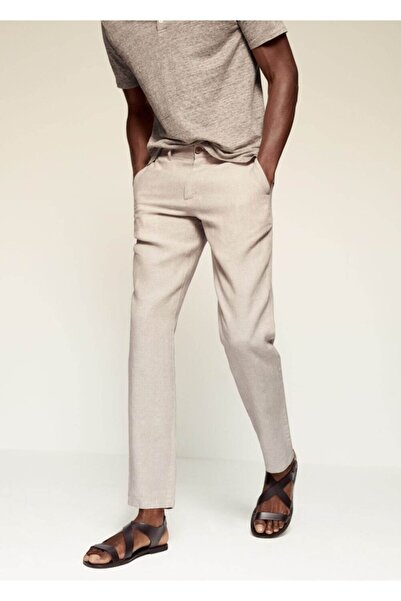 MANGO Man Erkek Ekru Dar Kesimli Keten Pantolon