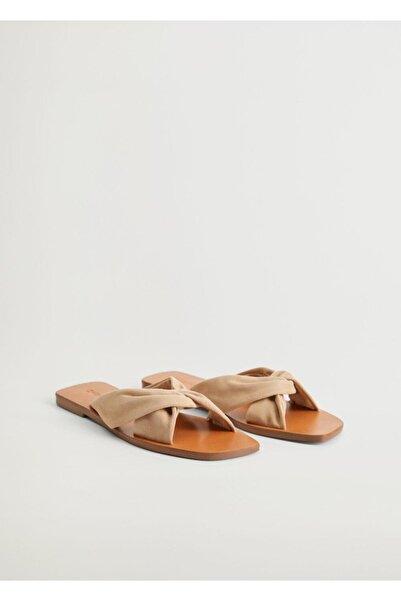 MANGO Woman Kadın Bej Deri Bantlı Sandalet