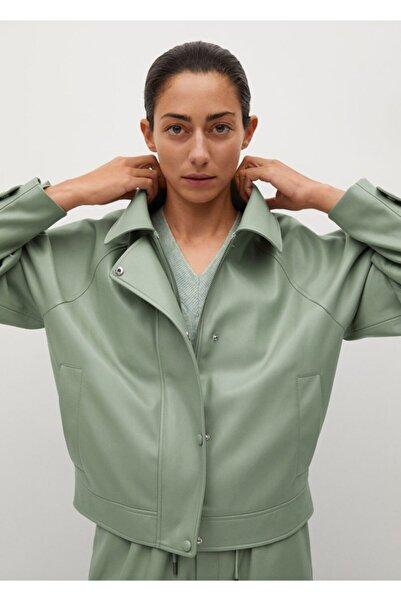 MANGO Woman Suni Deri Kabarık Ceket