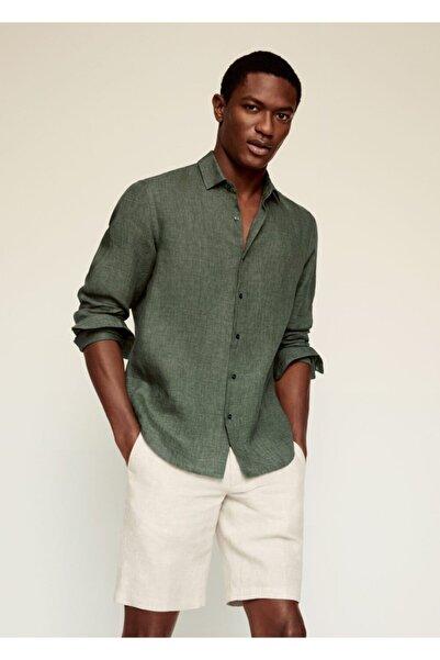 MANGO Man Erkek Yeşil Regular Kesimli %100 Keten Gömlek