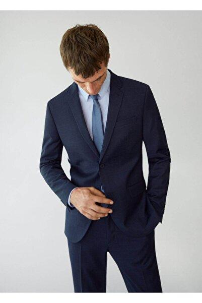 MANGO Man Erkek Lacivert Süper Dar Kesimli Kareli Tailored Blazer Ceket