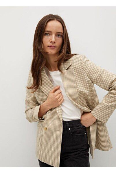 MANGO Woman Kadın Bej Pötikareli Blazer Ceket