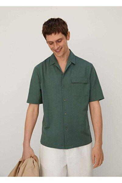 MANGO Man Erkek Yeşil Regular Kesim Cepli Pamuklu Gömlek