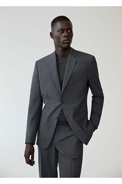 MANGO Man Erkek Gri Dar Kesim Yünlü Takım Blazer Ceket
