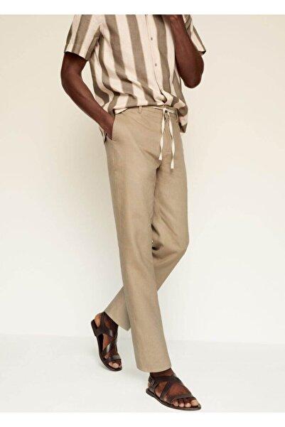 MANGO Man Erkek Bej Relaxed Keten Pantolon