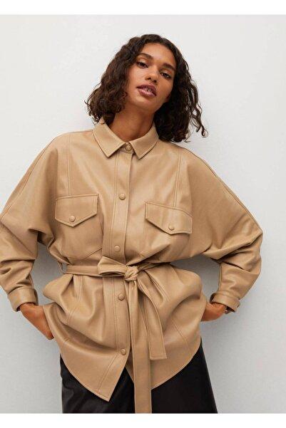 MANGO Woman Deri Görünümlü Kemerli Gömlek Ceket