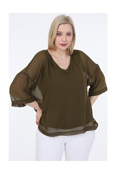garajmood Haki Renk Tül Detay Iç Astarlı Büyük Beden Bluz