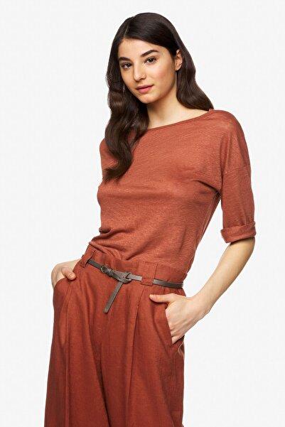 United Colors of Benetton Kadın Truvakar Kol Keten Tshirt 312023S1ME16B0-3G4