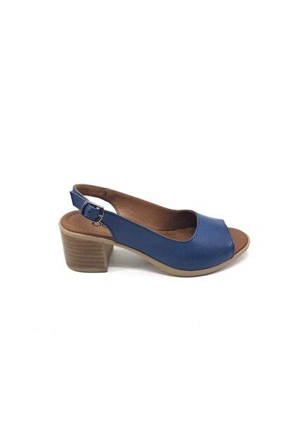 Bella Anatomik Deri, Topuklu Mavi Ayakkabı 4610-105