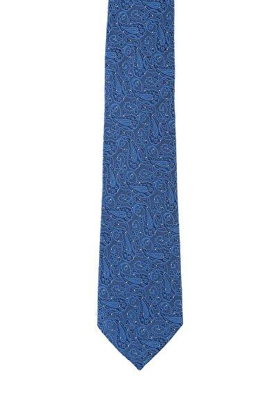 Kiğılı Erkek Mavi İtalyan İpek Desenli Kravat