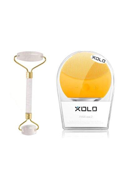 xolo Şarj Edilebilir Sarı Yüz Temizleme Cihazı + Jade Roller Beyaz 2'li Yeşim Taşı Masaj Aleti
