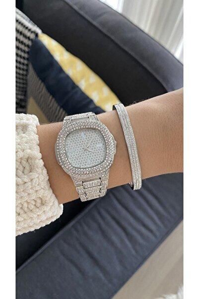Spectrum Metal Kordonlu Taşlı Gümüş Renk Kadın Kol Saati