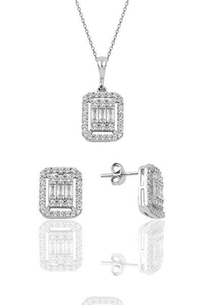 Söğütlü Silver Gümüş Rodyumlu Baget Taşlı İkili Set