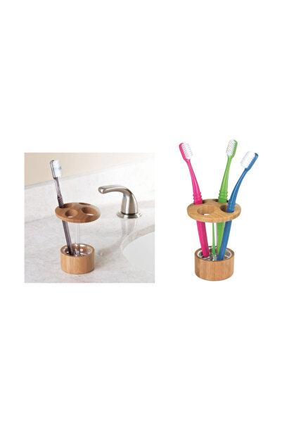 Bosphorus Diş Fırçalık Bambu Kaplamalı Model Banyo Aksesuarı