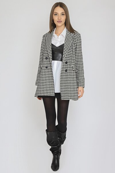 TARZIM BUTİK Kadın Mono Yaka Astarsız Dört Düğme Cep Kapağı Detay Uzun Casual Ceket