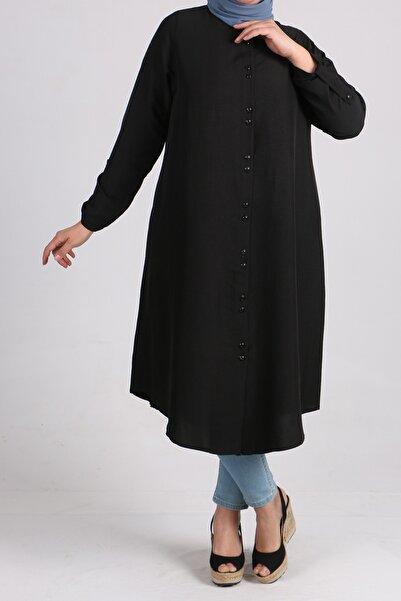 eslamood 8458 Büyük Beden Düğmeli Mucize Gömlek - Siyah