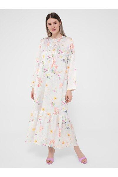 ALİA Kolları Volanlı Çiçek Desenli Saten Elbise