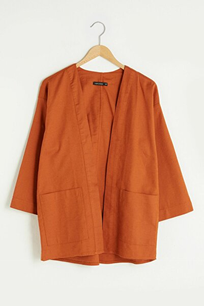 LC Waikiki Kadın Yanık Turuncu LCW Casual Kimono