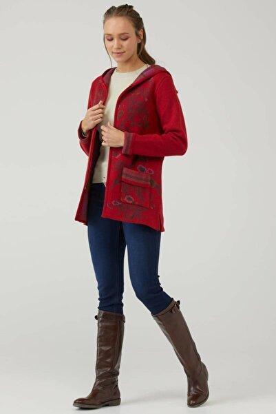 Sementa Kadın Kapüşonlu Fermuarlı Triko Ceket - Kırmızı