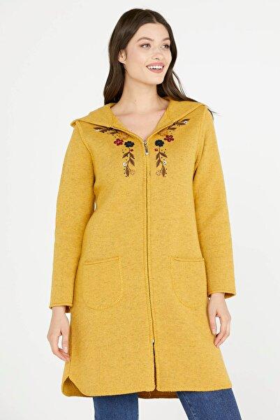 Sementa Nakış Desenli Kapüşonlu Kadın Triko Ceket - Güneş