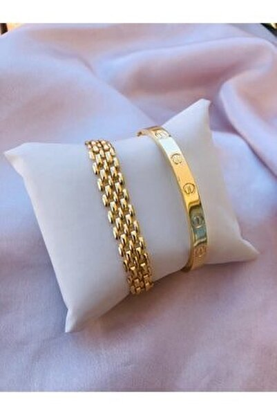 Kadın Gold Renk Kararmaz Saat Yanı Çelik Bileklik