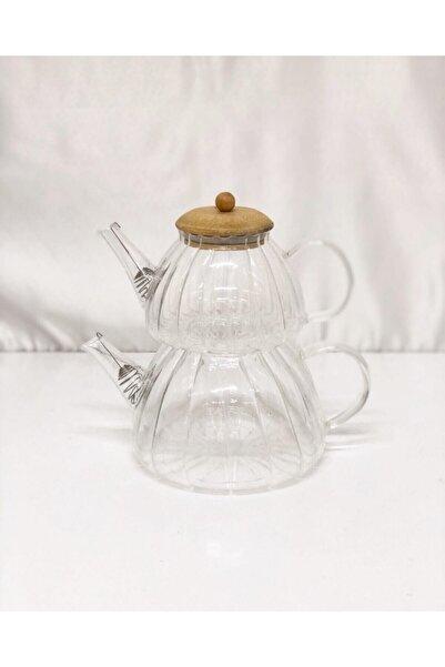 Çiftçiler Çiftçi Cam Çay Seti , Demlik Seti ( Glass Teapot Set ) 1500ml 800 ml