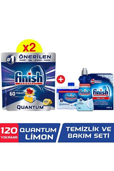 Finish Quantum 120 Tablet Bulaşık Makinesi Deterjanı Limon (60x2) + Temizlik Ve Bakım Seti