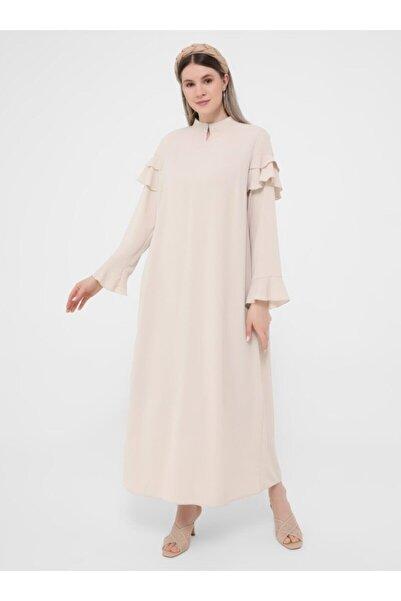 ALİA Kadın Taş Büyük Beden Kolları Volanlı Dokuma Elbise