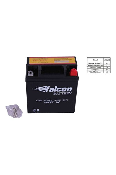 Falcon Kmt Çelik 100 12-v 5 Ahr (12N5L-BS) Kuru Akü (CUB-YBR)