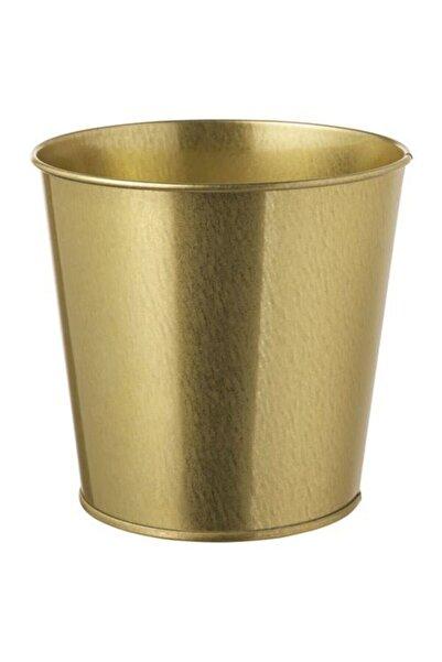 IKEA Gold Renk Bitki Çiçek Saksısı 12cm Meridyendukkan Galvanizli Çelik
