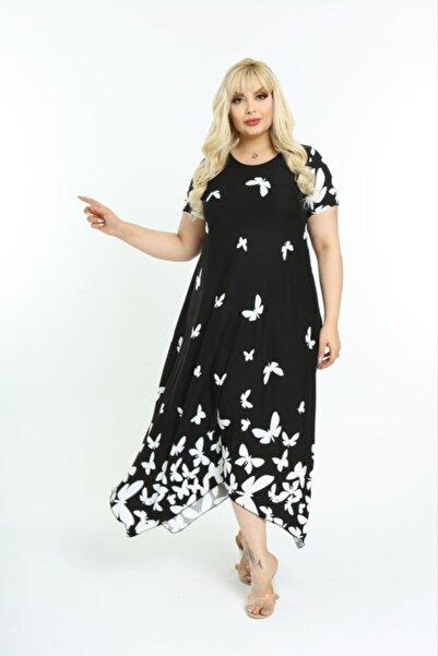 HERAXL Kadın Siyah Asimetrik Kesim Desenli Büyük Beden Elbise
