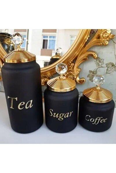 MİEN Çay Şeker Kahve Saklama Kavanozu 3 Lü Dekoratif Saklama Kabı