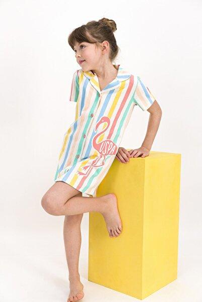 U.S. Polo Assn. Kız Çocuk Bej Çizgili Elbise