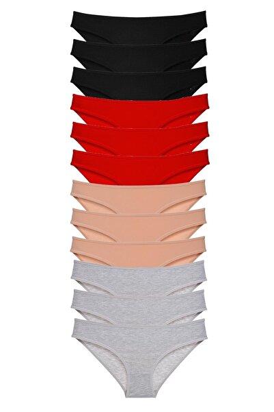 Shoveno Kadın Slip Külot Siyah Kırmızı Ten Gri 12 Adet Süper Eko Set Likralı