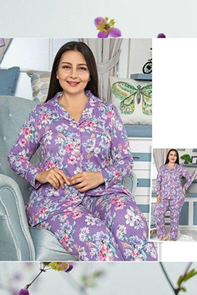 HAPPY NIGHT FASHION Düğmeli Battal Pijama Takım