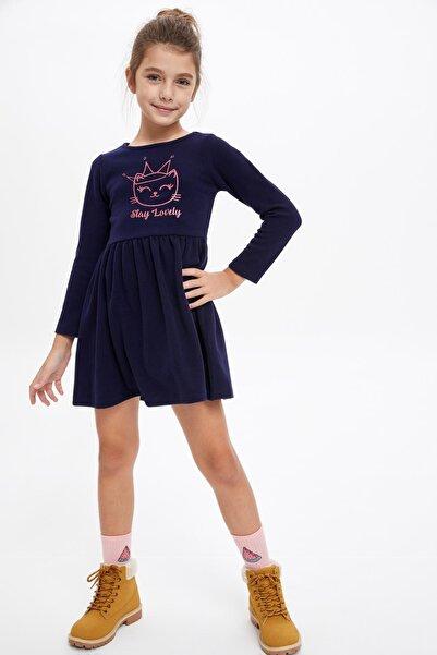DeFacto Kız Çocuk Kedi Baskılı Uzun Kol Elbise