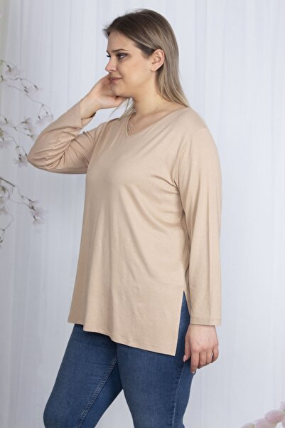Şans Kadın Vizon V Yakalı Yan Yırtmaçlı Bluz 65N23628